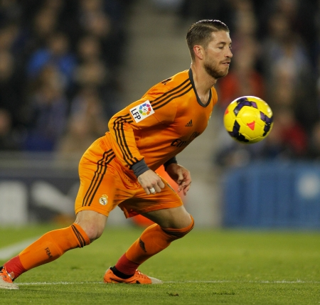 sergio: Sergio Ramos of Real Madrid during the Spanish League match between Espanyol and Real Madrid at the Estadi Cornella on January 12, 2014 in Barcelona, Spain Editorial