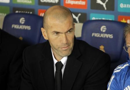 Real Madrid Sporting Diretor Zinedine Zidane during the Spanish League match between Espanyol and Real Madrid at the Estadi Cornella on January 12, 2014 in Barcelona, Spain