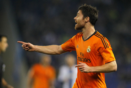 real leader: Xabi Alonso of Real Madrid during the Spanish League match between Espanyol and Real Madrid at the Estadi Cornella on January 12, 2014 in Barcelona, Spain