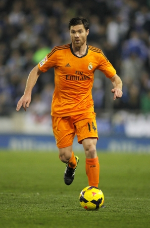 sergio: Xabi Alonso of Real Madrid during the Spanish League match between Espanyol and Real Madrid at the Estadi Cornella on January 12, 2014 in Barcelona, Spain