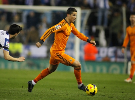 champion of spain: Cristiano Ronaldo of Real Madrid during the Spanish League match between Espanyol and Real Madrid at the Estadi Cornella on January 12, 2014 in Barcelona, Spain Editorial