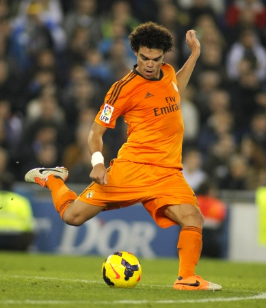 to pepe: Pepe Lima of Real Madrid during the Spanish League match between Espanyol and Real Madrid at the Estadi Cornella on January 12, 2014 in Barcelona, Spain Editorial