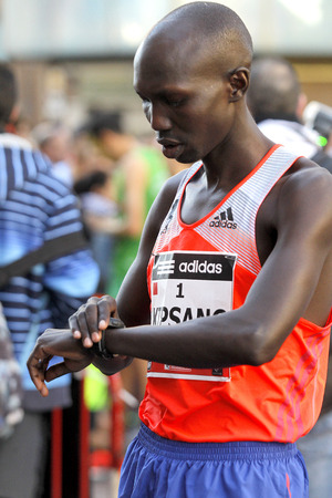 wilson: Kenyan Wilson Kipsang, Current world record holder in the marathon before Granollers Half Marathon at Granollers on February 2, 2014 in Barcelona, Spain