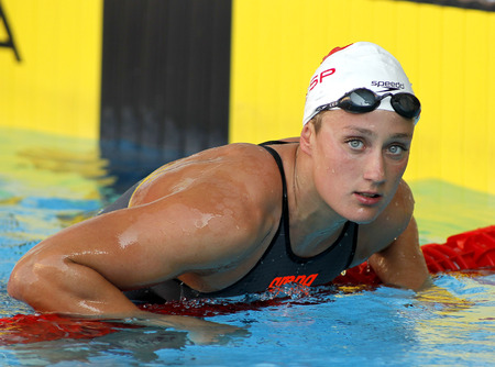 Spanish swimmer Mireia Belmonte swimming freestyle during the Mare Nostrum meeting in Barcelona Sant Andreu club, June 11, 2013 in Barcelona, Spain