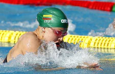 ruta: Lithuanian swimmer Ruta Meilutyte swimming breakstroke during the Mare Nostrum meeting in Barcelona Sant Andreu club, June 11, 2013 in Barcelona, Spain Editorial