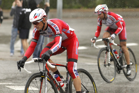 eduard: Eduard Vorganov of Team Katusha rides during the Tour of Catalonia cycling race through the streets of Monjuich mountain in Barcelona on March 30, 2014