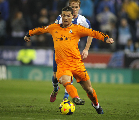 Cristiano Ronaldo of Real Madrid during the Spanish League match between Espanyol and Real Madrid at the Estadi Cornella on January 12, 2014 in Barcelona, Spain Editorial