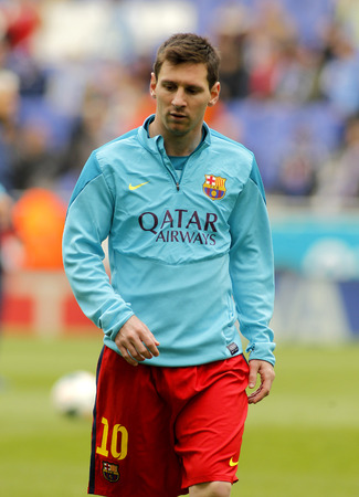 winger: Leo Messi of FC Barcelona before a Spanish League match against RCD Espanyol at the Estadi Cornella on March 29, 2014 in Barcelona, Spain