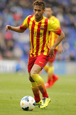 Neymar da Silva of FC Barcelona in action during a Spanish League match against RCD Espanyol at the Estadi Cornella on March 29, 2014 in Barcelona, Spain Editorial