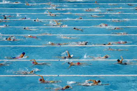 Competencia de natación de la piscina llena de entrenamiento nadadores Editorial