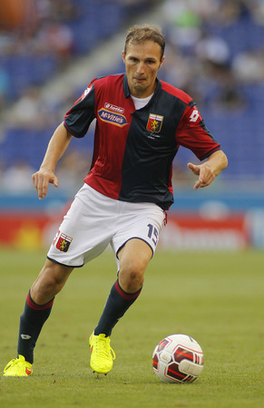 cfc: Giovanni Marchese of Genoa CFC in action during a friendly match against RCD Espanyol at the Estadi Cornella on August 17, 2014 in Barcelona, Spain