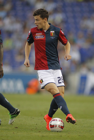 cfc: Davide Marsura of Genoa CFC in action during a friendly match against RCD Espanyol at the Estadi Cornella on August 17, 2014 in Barcelona, Spain Editorial