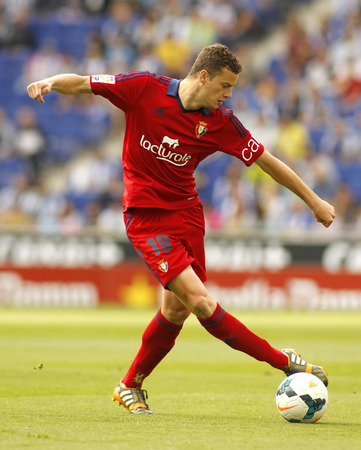 premier league: Oriol Riera in action during a Spanish league match against RCD Espanyol at the Estadi Cornella on May 11, 2014 in Barcelona, Spain