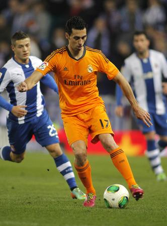 alvaro: Alvaro Arbeloa of Real Madrid during the Spanish Kings Cup match between Espanyol and Real Madrid at the Estadi Cornella on January 21, 2014 in Barcelona, Spain