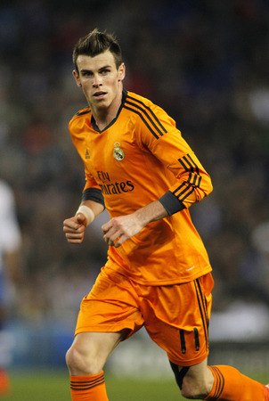 winger: Gareth Bale of Real Madrid during the Spanish Kings Cup match between Espanyol and Real Madrid at the Estadi Cornella on January 21, 2014 in Barcelona, Spain Editorial