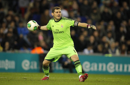 Iker Casillas of Real Madrid during the Spanish Kings Cup match between Espanyol and Real Madrid at the Estadi Cornella on January 21, 2014 in Barcelona, Spain Editorial