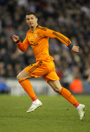 Cristiano Ronaldo of Real Madrid during the Spanish Kings Cup match between Espanyol and Real Madrid at the Estadi Cornella on January 21, 2014 in Barcelona, Spain Editorial