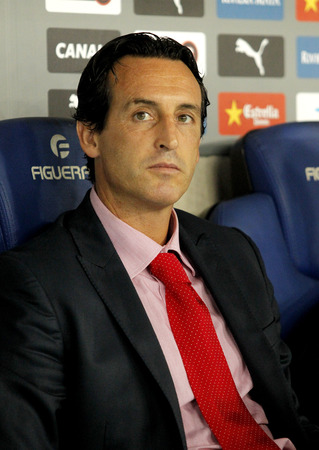 emery: Unai Emery Sevilla FC manager spanish league match against Espanyol at the Estadi Cornella on August 30, 2014 in Barcelona, Spain Editorial
