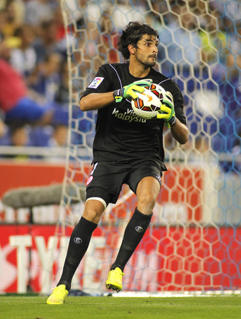 mariano: Mariano Barbosa of Sevilla FC during spanish league match against Espanyol at the Estadi Cornella on August 30, 2014 in Barcelona, Spain