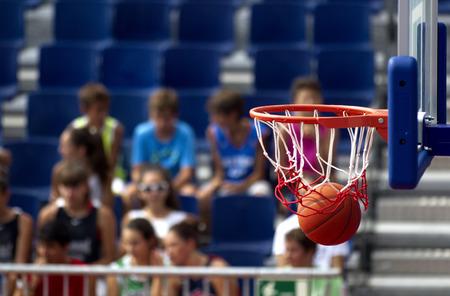 nba: Basketball action finished scoring point Stock Photo