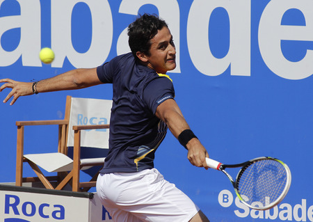 almagro: Spanish tennis player Nicolas Almagro in action during a match of Barcelona tennis tournament Conde de Godo on April 23, 2014 in Barcelona