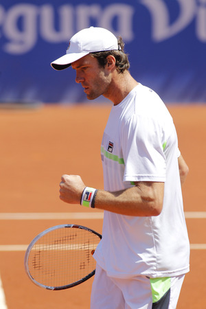 conde: Russian tennis player Teymuraz Gabashvili in action during a match of Barcelona tennis tournament Conde de Godo on April 24, 2014 in Barcelona Editorial