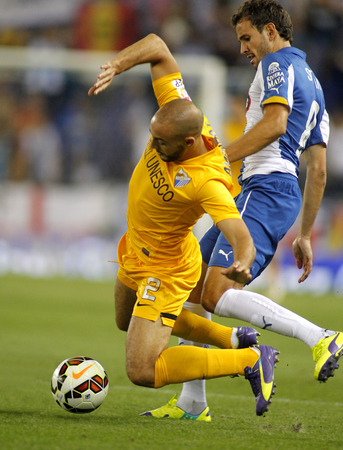 Nordin Amrabat of Malaga CF in action during a Spanish League match against RCD Espanyol at the Estadi Cornella on September 20, 2014 in Barcelona, Spain