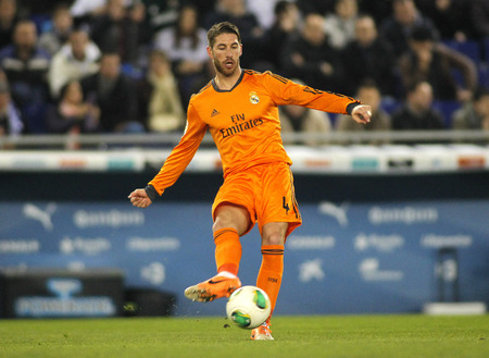 sergio: Sergio Ramos of Real Madrid during the Spanish Kings Cup match between Espanyol and Real Madrid at the Estadi Cornella on January 21, 2014 in Barcelona, Spain