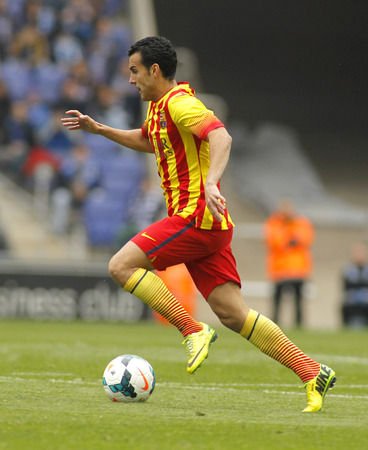 premier league: Pedro Rodriguez of FC Barcelona in action during a Spanish League match against RCD Espanyol at the Estadi Cornella on March 29, 2014 in Barcelona, Spain Editorial