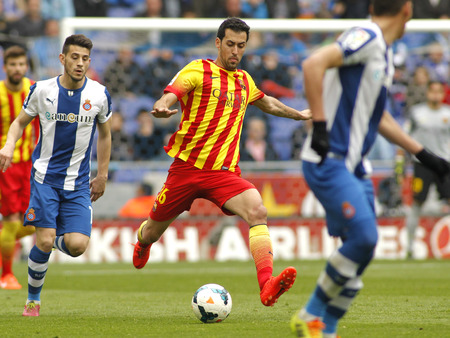 sergio: Sergio Busquets of FC Barcelona in action during a Spanish League match against RCD Espanyol at the Estadi Cornella on March 29, 2014 in Barcelona, Spain Editorial