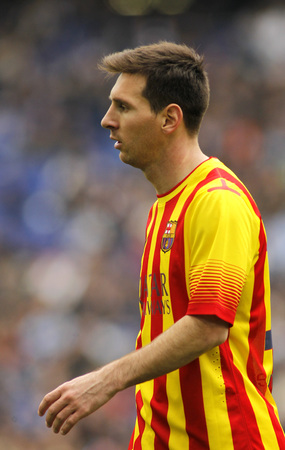 mesi: Leo Messi of FC Barcelona in action during a Spanish League match against RCD Espanyol at the Estadi Cornella on March 29, 2014 in Barcelona, Spain Editorial