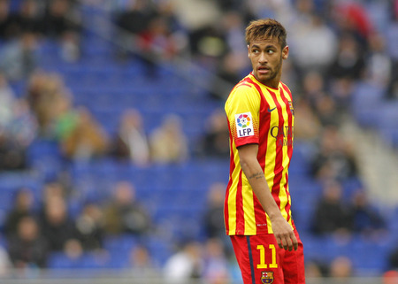 silva: Neymar da Silva of FC Barcelona in action during a Spanish League match against RCD Espanyol at the Estadi Cornella on March 29, 2014 in Barcelona, Spain Editorial