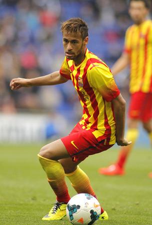 FC バルセロナ スペイン リーグ中の Neymar da Silva 照合 RCD エスパニョール Estadi コルネイヤで 2014 年 3 月 29 日にバルセロナ、スペイン