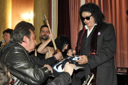 autograph: Guitarist and vocalist of a Rock band Kiss Gene Simmons, autograph signing during an event in Reial Cercle Artistic on December 15, 2014 in Barcelona, Spain