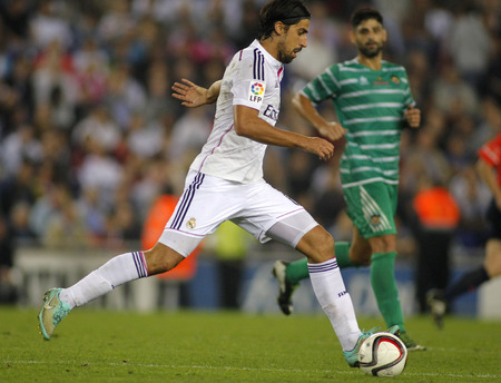 Sami Khedira of Real Madrid during the Spanish Kings Cup match against UE Cornella at the Estadi Cornella on October 29, 2014 in Barcelona, Spain