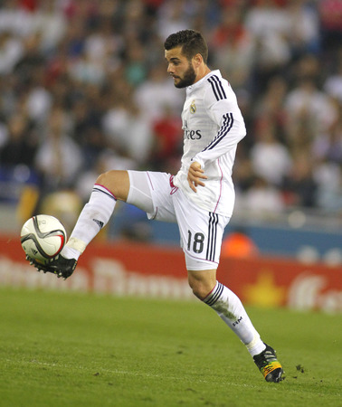nacho: Nacho Fern?ndez Iglesias of Real Madrid during the Spanish League match between Espanyol and Real Madrid at the Estadi Cornell on October 29, 2014 in Barcelona, Spain Editorial