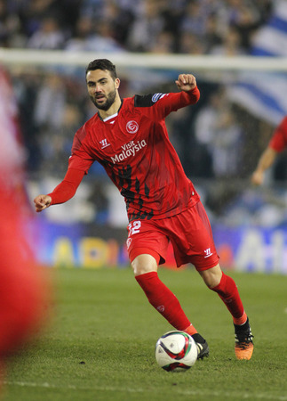 midfielder: Vicente Iborra of Sevilla FC during spanish League match against RCD Espanyol at the Estadi Cornella on January 22, 2015 in Barcelona, Spain