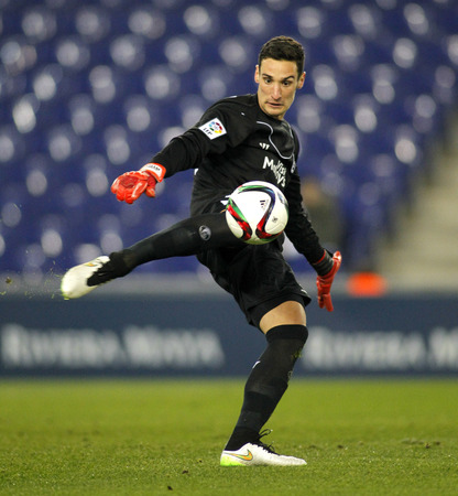 sergio: Sergio Rico of Sevilla FC during spanish League match against RCD Espanyol at the Estadi Cornella on January 22, 2015 in Barcelona, Spain