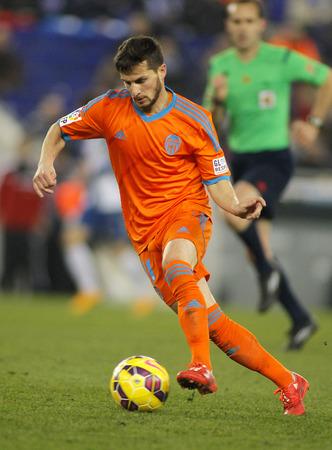 cf: Pablo Piatti of Valencia CF during spanish League match against RCD Espanyol at the Estadi Cornella on February 8, 2015 in Barcelona, Spain Editorial