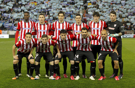 lineup: Athletic de Bilbao lineup before a Spanish League match against RCD Espanyol at the Estadi Cornella on March 4, 2015 in Barcelona, Spain