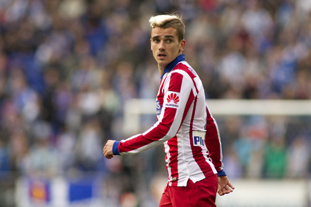 winger: Antoine Griezmann of Atletico Madrid during a Spanish League match against RCD Espanyol at the Estadi Cornella on March 14, 2015 in Barcelona, Spain Editorial