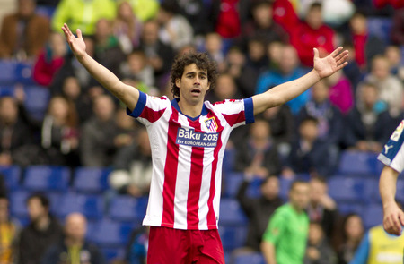 futbol soccer: Tiago Mendes of Atletico Madrid during a Spanish League match against RCD Espanyol at the Estadi Cornella on March 14, 2015 in Barcelona, Spain Editorial