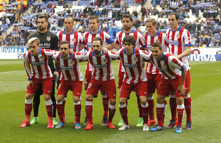 lineup: Atletico de Madrid lineup before a Spanish League match against RCD Espanyol at the Estadi Cornella on March 14, 2015 in Barcelona, Spain