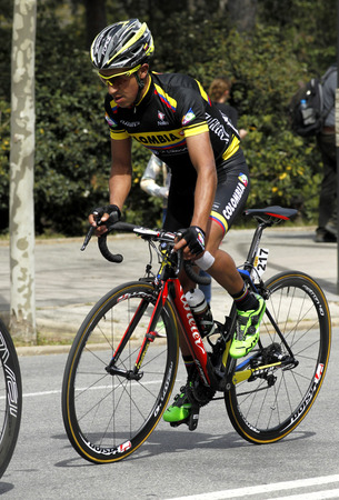 sarmiento: Cayetano Sarmiento of Colombia Team rides during the Tour of Catalonia cycling race through the streets of Monjuich mountain in Barcelona on March 29, 2015