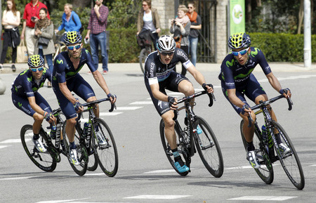 joaquin: Jose Joaquin Rojas(L), Petr Vakoc(C) and Jose Herrada(R) ride during the Tour of Catalonia cycling race through the streets of Monjuich mountain in Barcelona on March 29, 2015 Editorial