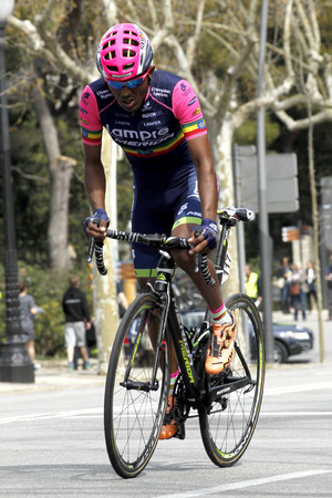 rides: Tsgabu Gebremaryam Grmay of Lampre-Merida rides during the Tour of Catalonia cycling race through the streets of Monjuich mountain in Barcelona on March 29, 2015