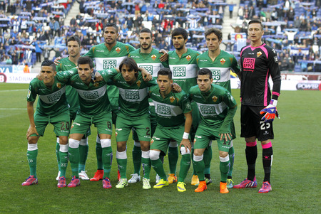 lineup: Elche CF lineup before a Spanish League match against RCD Espanyol at the Estadi Cornella on April 6, 2015 in Barcelona, Spain Editorial