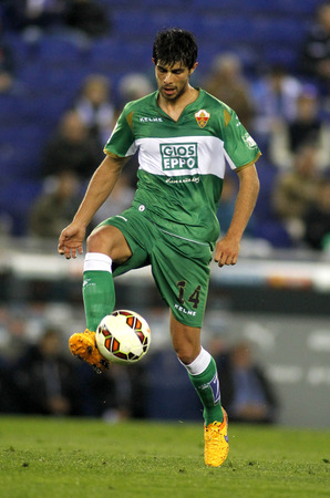 cf: Jose Angel Alonso of Elche CF during a Spanish League match against RCD Espanyol at the Estadi Cornella on April 6, 2015 in Barcelona, Spain