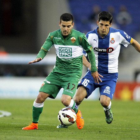 cf: Victor Rodriguez of Elche CF during a Spanish League match against RCD Espanyol at the Estadi Cornella on April 6, 2015 in Barcelona, Spain Editorial