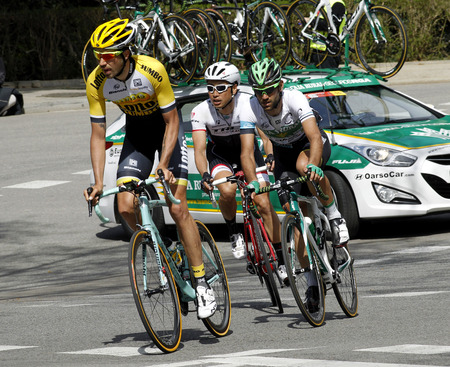 mas: Steven Kruijswijk Lluis Mas and Fumiyuki Beppu ride during the Tour of Catalonia cycling race through the streets of Monjuich mountain in Barcelona on March 29 2015